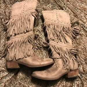 Not Rated Taupe Fringe Suede Boots